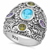 Sterling Silver Nature Multi Color CZ Ring