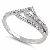 Sterling Silver Ocean Wave Clear CZ Ring