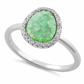 Sterling Silver Offset Oval Green Ice Galaxy CZ Ring
