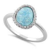 Sterling Silver Offset Oval Sky Blue Ice Galaxy CZ Ring