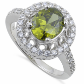 Sterling Silver Olive Green Halo Cushion Cut CZ Ring