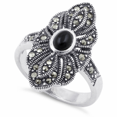 Sterling Silver Black Onyx Eye Marcasite Ring