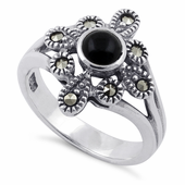 Sterling Silver Black Onyx Flower Marcasite Ring