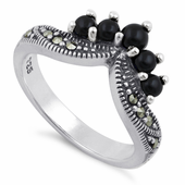 Sterling Silver Black Onyx Pointed V Marcasite Ring