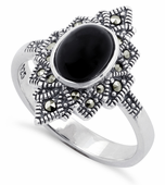 Sterling Silver Black Onyx Star Marcasite Ring