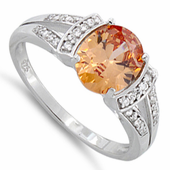 Sterling Silver Oval Channel Orange CZ Ring