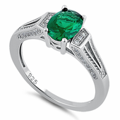 Sterling Silver Oval Emerald CZ Ring