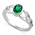 Sterling Silver Oval Green CZ Celtic Ring