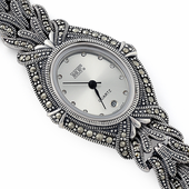Sterling Silver Oval Marcasite Watch