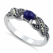 Sterling Silver Oval Blue Lapis Marcasite Ring