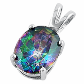Sterling Silver Oval Rainbow Topaz Pendant