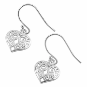 Sterling Silver Pattern Heart Hook Earrings