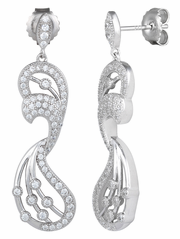 Sterling Silver Pave Abstract CZ Dangle Earrings