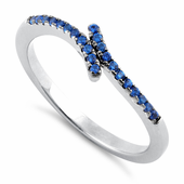 Sterling Silver Pave Blue CZ Ring