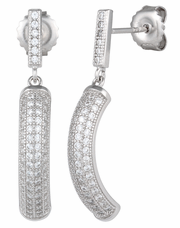 Sterling Silver Pave C Shape CZ Dangle Earrings