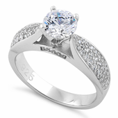 Sterling Silver Pave Engagement Clear CZ Ring