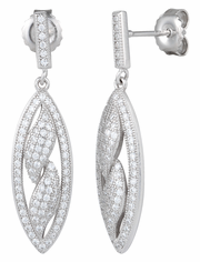 Sterling Silver Pave Flames CZ Dangle Earrings