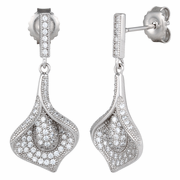 Sterling Silver Pave Flower CZ Dangle Earrings