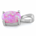 Sterling Silver Pink Lab Opal Oval Pendant