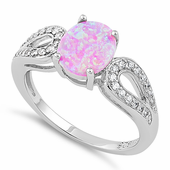 Sterling Silver Pink Oval Lab Opal CZ Ring
