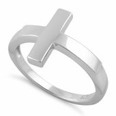 Sterling Silver Plain Cross Ring