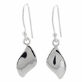 Sterling Silver Plain Leaf Hook Earrings