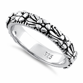 Sterling Silver Plumeria Flower Eternity Band