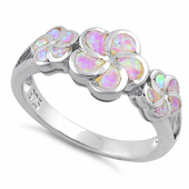 Sterling Silver Plumeria Pink Lab Opal Ring