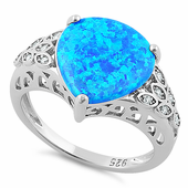 Sterling Silver Plump Pear Shape Blue Lab Opal Clear CZ  Ring