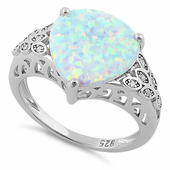Sterling Silver Plump Pear Shape White Lab Opal Clear CZ  Ring