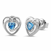 Sterling Silver Precious Heart Blue Topaz CZ Earrings