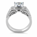 Sterling Silver Princess Cut Clear CZ Engagement Ring