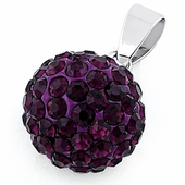 Sterling Silver Purple CZ Ball Pendant
