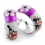 Sterling Silver Purple White Flower Enamel Hoop Earrings