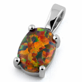 Sterling Silver Rainbow Lab Opal Oval Pendant