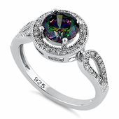 Sterling Silver Rainbow Topaz CZ Halo Infinity Band Ring