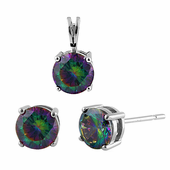 Sterling Silver Rainbow Topaz CZ Set