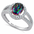 Sterling Silver Rainbow Topaz Oval Halo CZ Ring