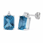 Sterling Silver Rectangular Blue Topaz CZ Earrings