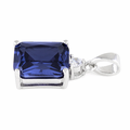 Sterling Silver Rectangular Tanzanite CZ Pendant
