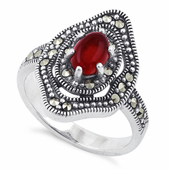 Sterling Silver Red Agate Eye Marcasite Ring