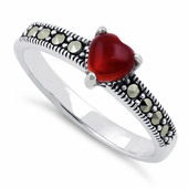 Sterling Silver Red Agate Heart Marcasite Ring