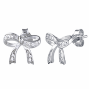 Sterling Silver Ribbon CZ Earrings