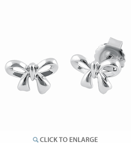 Sterling Silver Ribbon Stud Earrings