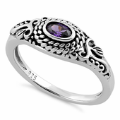 Sterling Silver Rope Amethyst CZ Ring