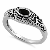 Sterling Silver Rope Black CZ Ring