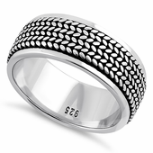 Sterling Silver Rope Pattern Eternity Band