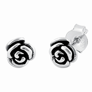 Sterling Silver Rose Flower Earrings