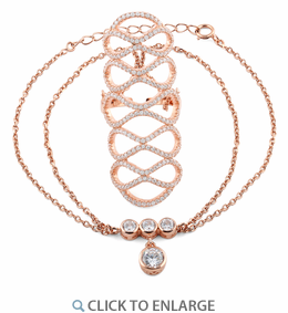 Sterling Silver Rose Gold Figure 8 Extravagant CZ Chain Ring Bracelet