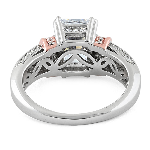 Silver Rose Gold Plated Two Tone Clear Emerald Cut CZ Ring